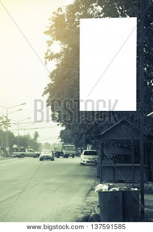Blank billboard with copy space for your text message or promotional content public information board on the street advertising mock up empty banner clear poster.