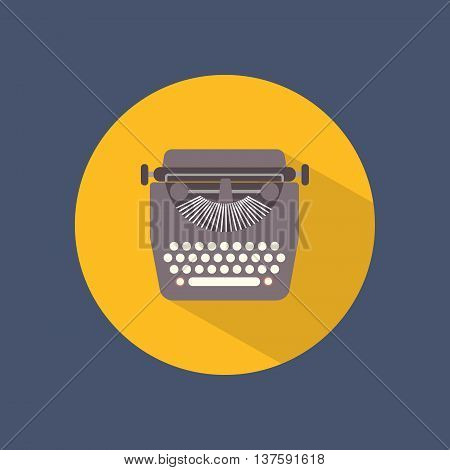 Typewriter round flat icon on dark background. Retro style. Vector illustration.