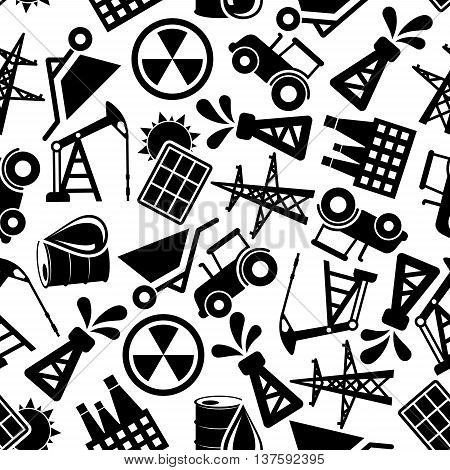 Black and white seamless energy industry and power resources pattern background with silhouettes of solar panels and nuclear plants, pump jacks, oil barrels and pump derricks, power line poles, wheelbarrows and tractors
