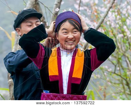 HA GIANG, VIETNAM, February 4, 2016 young couples, ethnic Hmong, Ha Giang mountainous region, Vietnam. traditional costume beauty