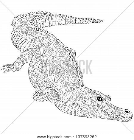 Zentangle stylized cartoon crocodile (alligator) isolated on a white. Hand drawn sketch for adult antistress coloring page T-shirt emblem logo tattoo with doodle zentangle floral design elements