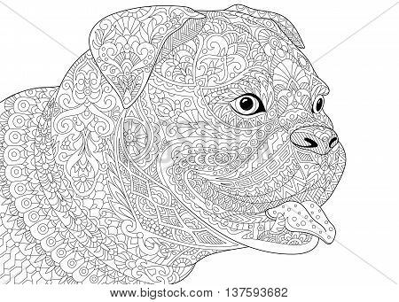 Zentangle stylized cartoon german boxer dog breed isolated on white background. Hand drawn sketch for adult antistress coloring book page T-shirt emblem tattoo with doodle zentangle design elements