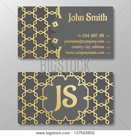 Business card template gold arabic traditional pattern. Vector illustration