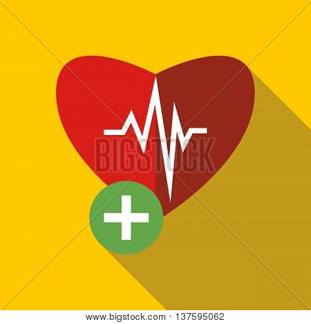 heartbeat icon in flat style on a yellow background
