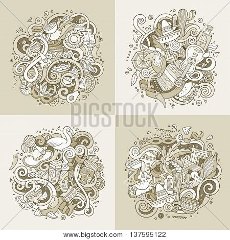Latin American cartoon vector hand drawn doodle illustration. Sepia detailed designs  with objects and symbols. 4 square composition banner vector set.