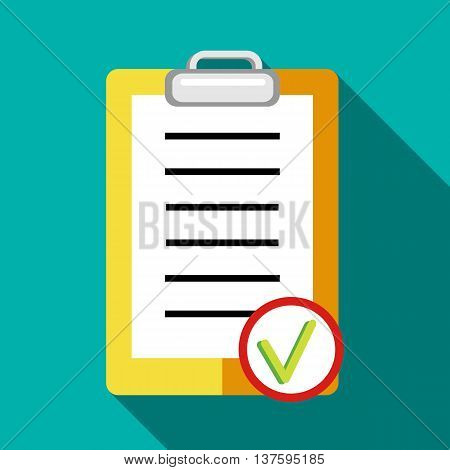 Clipboard, tick list icon in flat style on a turquoise background