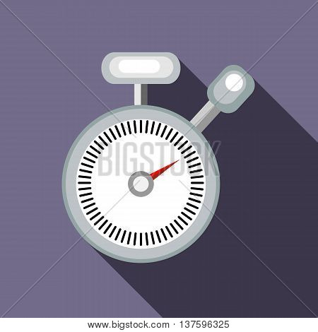 Stopwatch icon in flat style on a lavender background