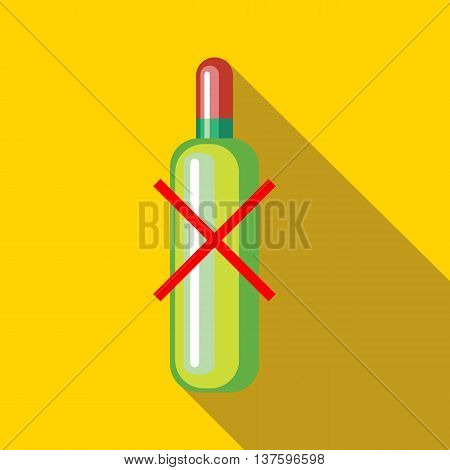 No alcohol icon in flat style on a yellow background