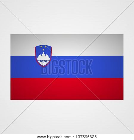 Slovenia flag on a gray background. Vector illustration