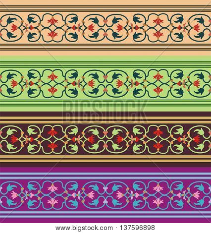 Arabesque. Seamless pattern in Moorish style. Arab element of design. Islamic  border.