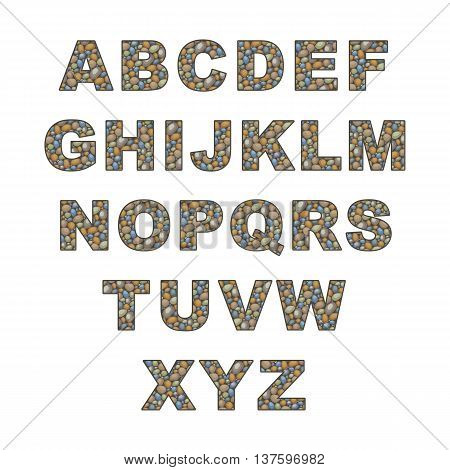 large pebble alphabet. the capital letters of the Latin alphabet stylized in the form of a stone laying