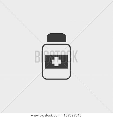 Medical bottle icon in a flat design in black color. Vector illustration eps10
