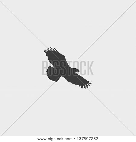Eagle icon in a flat design in black color. Vector illustration eps10