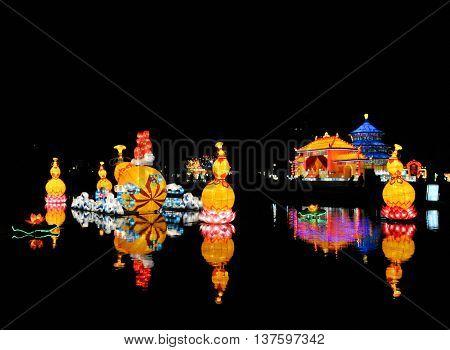 ROTTERDAM, NETHERLANDS, 02 FEB, 2014: Chinese lights on the lake in Rotterdam China Lights festival 2013