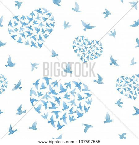 Heart with blue watercolor birds. Ditsy seamless background. Watercolour for fashion design