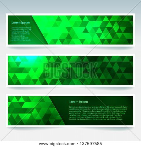 Set Of Banner Templates With Abstract Background. Modern Vector Banners With Polygonal Background. N