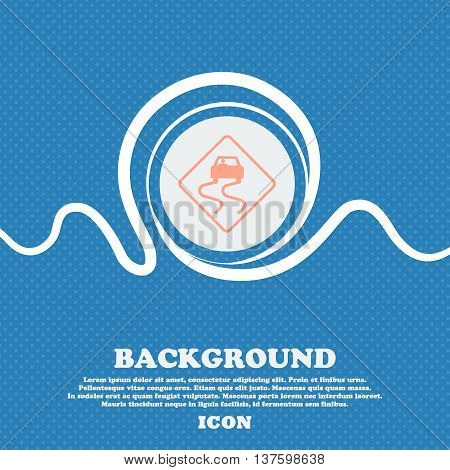 Road Slippery Sign Icon. Blue And White Abstract Background Flecked With Space For Text And Your Des