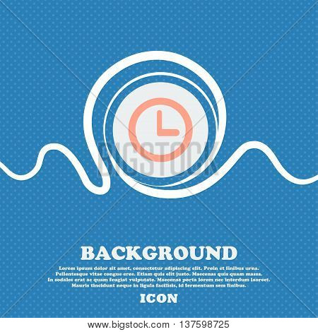 Clock Sign Icon. Mechanical Clock Symbol. Blue And White Abstract Background Flecked With Space For
