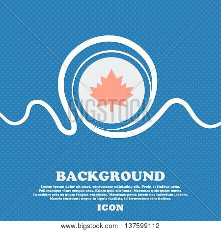 Maple Leaf Icon. Blue And White Abstract Background Flecked With Space For Text And Your Design. Vec