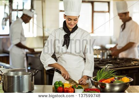 Young female chef cutting vegetables in commercial kitchen