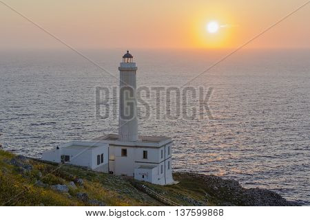 Sunrise on the Lighthouse of Cape Palascia in Otranto the easternmost point of Italy