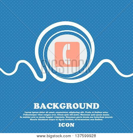 Handset Sign Icon. Blue And White Abstract Background Flecked With Space For Text And Your Design. V