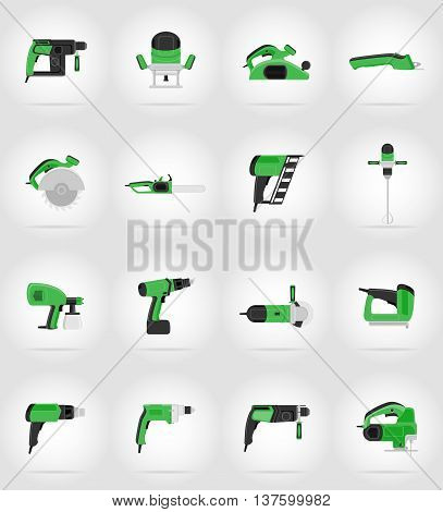 electric tools for construction and repair flat icons vector illustration isolated on background