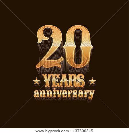 20 years anniversary vector logo. 20th birthday decoration design element sign emblem symbol in gold