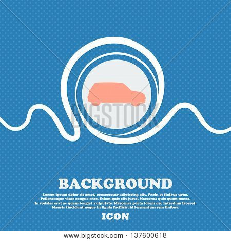 Jeep Sign Icon. Blue And White Abstract Background Flecked With Space For Text And Your Design. Vect