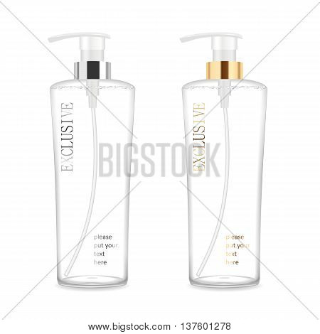 Two transparent blank cosmetic bottles for shampoo, soap, gel, bath foam, cream or lotion. Detailed vector illustration