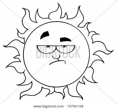 Outline Of A Grumpy Sun