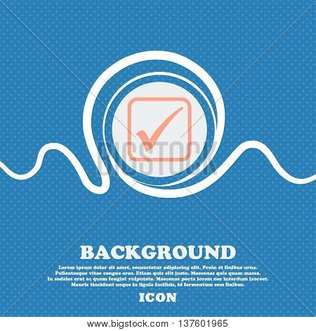 A Check Mark Sign Icon. Blue And White Abstract Background Flecked With Space For Text And Your Desi