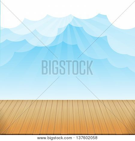 Brown wood floor texture and blue sky sunburst background empty room with space vector illustration eps10