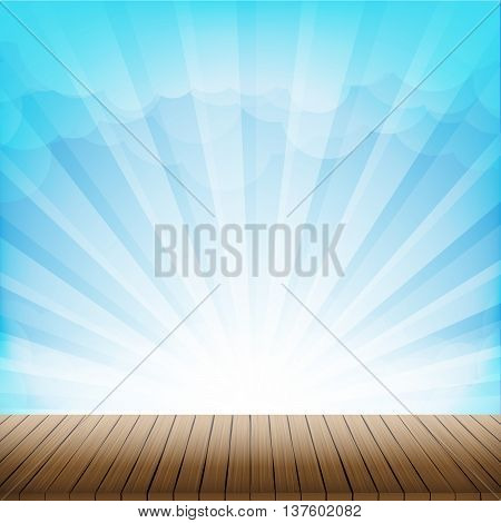 Brown wood floor texture and cloud blue sky sunbuest background empty room with space vector illustration eps10