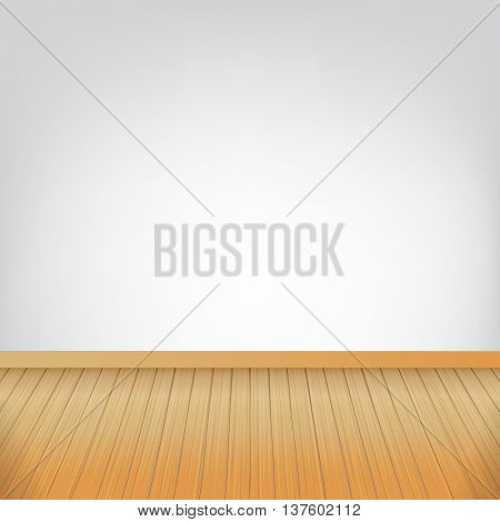 Brown wood floor texture and white wall background empty room with space vector illustration