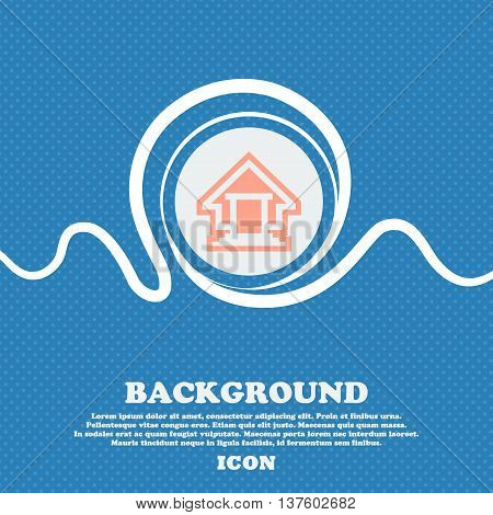 House Sign Icon. Blue And White Abstract Background Flecked With Space For Text And Your Design. Vec