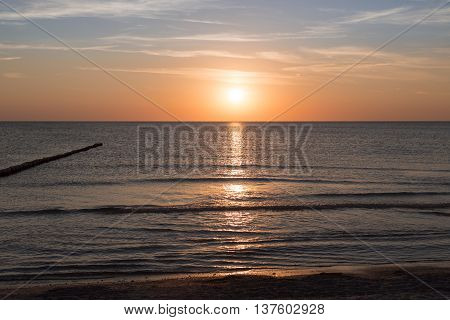 evening ocean landscape with sunset for backgrounds