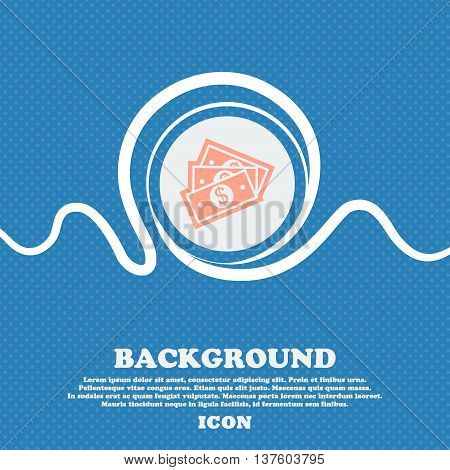 U.s Dollar Sign Icon. Blue And White Abstract Background Flecked With Space For Text And Your Design