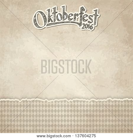 vintage background with ripped open paper have checkered pattern for Oktoberfest 2016