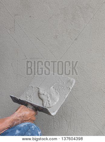 Builder Worker Plastering Concrete
