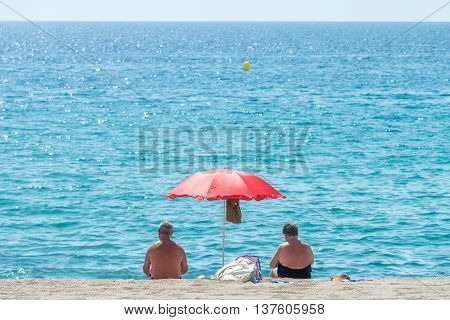 image of a view of parasols on the beach