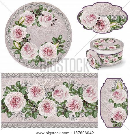 Set for packaging. Box round. Label. decoupage. Floral background. Flower border. Pattern. Mosaic. Branch of pink flowers of camellias old style.