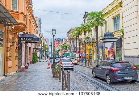 BATUMI GEORGIA - MAY 24 2016: The street of the old town district with the cozy family hotels tiny cafes and restaurants on May 24 in Batumi.