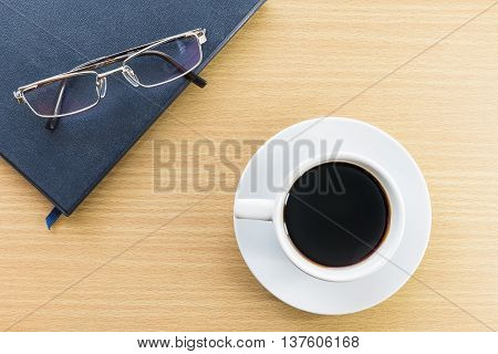 Coffee Cup On Wood Deck And Glasses