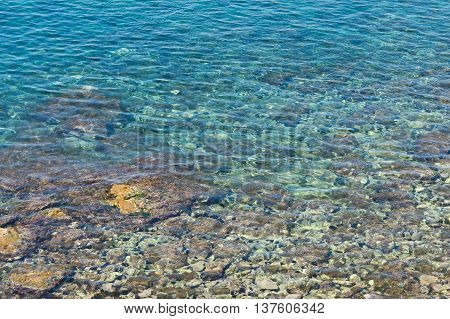 image of seabed shines through the clear water