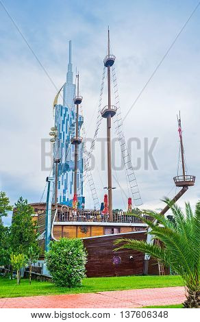 BATUMI GEORGIA - MAY 24 2016: The restaurant occupies the replica of the medieval warship located in the Seaside Park on May 24 in Batumi.