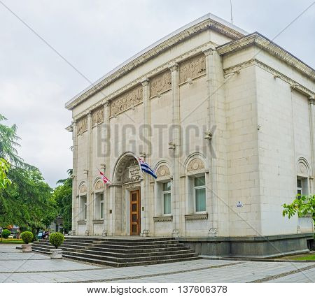 BATUMI GEORGIA - MAY 24 2016: The stone building of the Adjara Fine Arts Museum located in the city center on May 24 in Batumi.