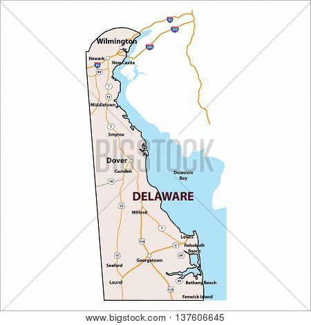 Vector Delaware USA State 3D Outline Map
