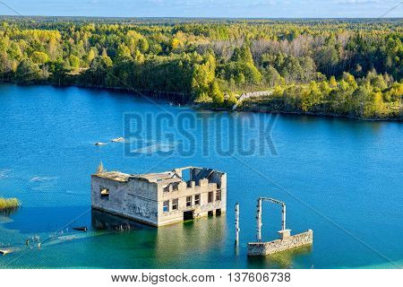 Flooded houses of former prison. Rummu Estonia EU