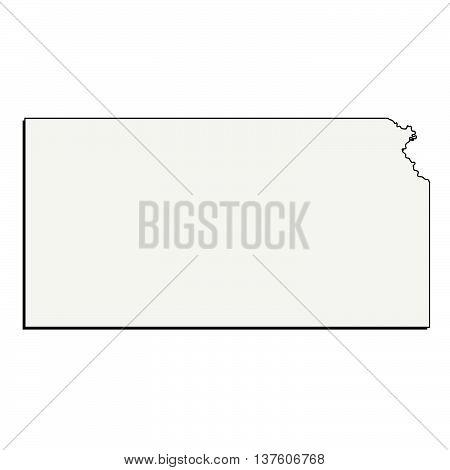 Vector Kansas State USA 3D Outline Map